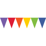 Rainbow Paper Pennant Banners 4.5m - 6 PC