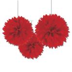 Red Paper Fluffy Decorations 40cm - 6 PKG/3