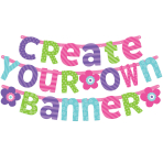 Pink & Teal Customisable Letter Banners - 12 PC