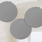 Silver Paper Lanterns 24cm - 6 PKG/3