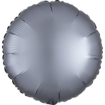 Graphite Circle Satin Luxe Standard HX Packaged Foil Balloons S15 - 5 PC