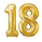 "Number Bunch 18 Supershape Gold Foil Balloons 34""/""86cm P60 - 3PC"