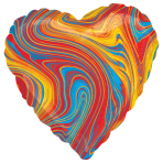 Marblez Colourful Heart Standard HX Foil Balloons S15 - 5 PC