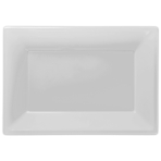 Frosty White Plastic Serving Platters - 6 PKG/3
