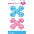 Team Boy/Team Girl Buttons - 9 PKG/10