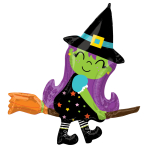 Cute Witch on Broom SuperShape Foil Balloons 34/86cm w x 38/96cm h P35 - 5 PC
