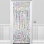 Silver Iridescent Door Curtains - 6 PC