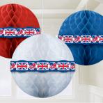 Great Britain Red/White/Blue Honeycomb Balls 29cm - 6 PKG/3