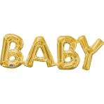 """Baby"" Phrase Gold SuperShape Foil Balloons 26""/66cm x 9""/22cm S55 - 5 PC"