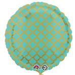 Robin's Egg & Gold Quatrefoil Standard Unpackaged Foil Balloons S30 - 10 PC