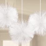 White Fluffy Tulle Decorations - 9 PKG/3