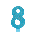 Giant Size Numeral Caribbean Blue Glitter Candles 13.3cm #8 - 12 PC