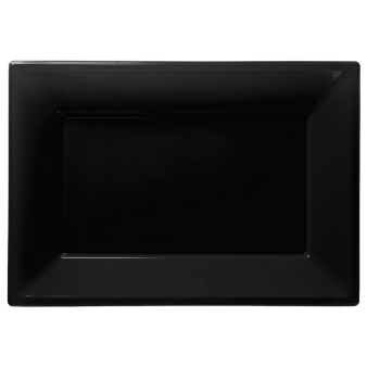 Jet Black Plastic Serving Platters - 6 PKG/3