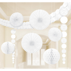 White Damask Party Decoration Kit - 6 PKG