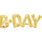 """B-Day"" Phrase Gold SuperShape Foil Balloons 26""/66cm w x 9""/22cm h S55 - 5 PC"