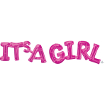 """""""It's A Girl"""" Pink Phrase Balloons G20 - 5 PC"""