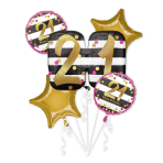Pink & Gold 21st Birthday Foil Balloon Bouquets P75 - 3 PC