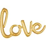 """Love"" Script Phrase Gold Foil Balloons 31""/78cm x 21""/53cm G40 - 5 PC"