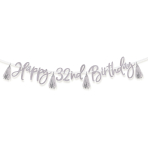 Metallic Silver Add-an-Age Happy Birthday Letter Banners 2.74m - 6 PC
