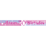 Pink Shimmer 40th Birthday Foil Banners 3.65m - 6 PC
