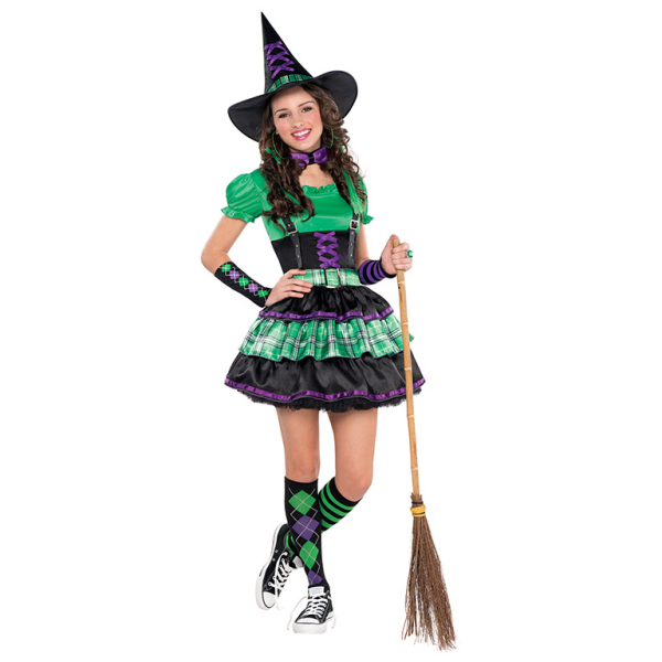 Ladies Long Black Witch Costume Halloween Fancy Dress Outfit Hat