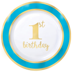1st Birthday Boy Blue Border Metallic Plastic Plates 26cm - 6 PKG/10