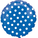 Polka Dot Blue Standard Unpackaged Foil Balloons S40 - 10 PC