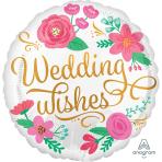 Gold Swirl Wedding Wishes Standard HX Foil Balloons S40 - 5 PC