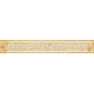 Happy Golden Anniversary Holographic Foil Banner 2.7m