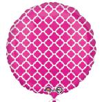Pink & White Quatrefoil Standard Unpackaged Foil Balloons S30 - 10 PC