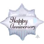 "Elegant Happy Anniversary Burst Junior Shape Foil Balloons 20""/51cm w x 17""/43cmS60 - 5 PC"