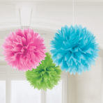 Multi-Colours Paper Fluffy Decorations 40cm - 6 PKG/3