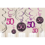Pink Sparkling Celebration 50th Hanging Swirl Decorations - 12 PKG/12