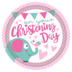 On your Christening Day Pink Paper Plates 23cm - 6 PKG/8