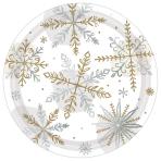 Shining Snow Metallic Paper Plates 18cm - 12 PKG/8