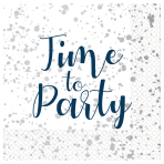 Time to Party Hot Stamped Luncheon Napkins 33cm - 6 PKG/16