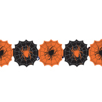 Spider Printed paper black & orange web Garlands 2.4m - 6 PC