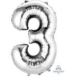 """Number 3 Silver SuperShape Foil Balloons 22""""/55cm w x 34""""/86cm h P50 - 5 PC"""