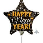 Happy New Year Gold & Silver Confetti Mini Foil Balloons A15 - 5 PC
