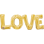 """Love"" Phrase Gold SuperShape Foil Balloons 25""/63cm x 9""/22cm S55 - 5 PC"