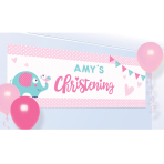 On your Christening Day Pink Personalised Banner size 1.2m x 45cm - 6 PC