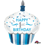 "1st Birthday Cupcake Boy SuperShape Foil Balloons 29""/73cm w x 36""/91cm h P40 - 5 PC"