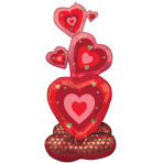 """Stacking Hearts Airloonz Foil Balloons 25""""/63CM w X 55""""/139CM h P70 - 3 PC"""