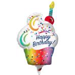 Rainbow Ombra Cupcake MiniShape Foil Balloons A30 - 5 PC