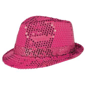 Team Spirit Pink Sequin Fedora Hats - 6 PC