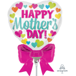 Happy Mother's Day Mini Heart Shape with Bow Foil Balloons A30 - 5 PC