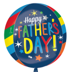 "Happy Father's Day Bright Stripes Orbz Foil Balloons 15""/38cm x 16""/40cm G20 - 5 PKG"