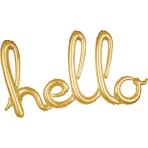 """Hello"" Script Phrase Gold Foil Balloons 39""/99cm x 22""/55cm G40 - 5 PC"