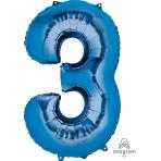 """Number 3 Blue SuperShape Foil Balloons 22""""/55cm w x 34""""/86cm h P50 - 5 PC"""