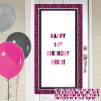 Black & Pink Happy Birthday Personalise it! Door Decoration Kits - 12 PKG
